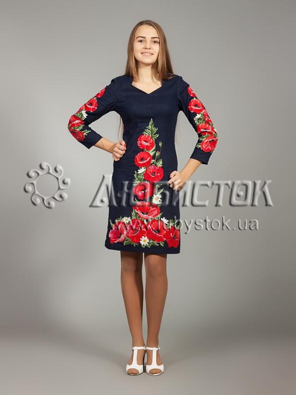 Вишита сукня хрестиком ЖПВ 24-1- квіти - купити efa982b62faf2